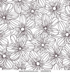 Seamless Floral Pattern With Stripy Fashion Flowers