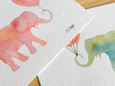stencilled and watercolored elephants