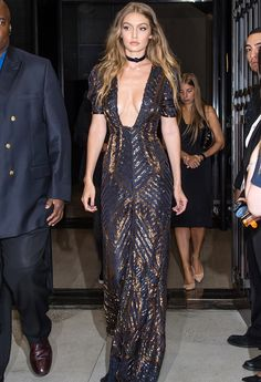 Gigi Hadid Dazzles in a Plunging Dress to Honor Tommy Hilfiger at NYFW Awards Show