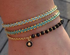 Minimalist Little Gold Feather Charm Bracelet by cocolocca on Etsy