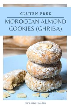 Gluten-free and grain free Moroccan Almond Cookies with a beautiful crinkle finish. They take only minutes to make and are so delicious, with hints of apricot jam and rosewater! Best Dessert Recipes, Dessert Ideas, Easy Desserts, Fall Recipes, Delicious Desserts, Almond Recipes, Baking Recipes, Gluten Free Almond Cookies, Moroccan Desserts