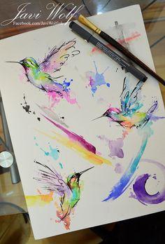 Watercolor Hummingbirds - Pintura de un servidor, disponible para venta y tatuaje. Aún tengo citas para GUADALAJARA TATTOO TRIPCitas & cotizaciones únicamente en www.javiwolf.com