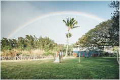 Rainbow Wedding!  Good Luck for life.  Hawaii Destination Wedding. Puakea Ranch