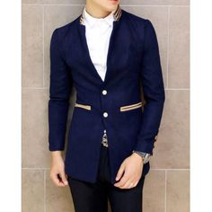 $39.99 Trendy Slimming Long Sleeves Stand Collar Patch Embellished Pockets Single-Breasted Men's Woolen Coat