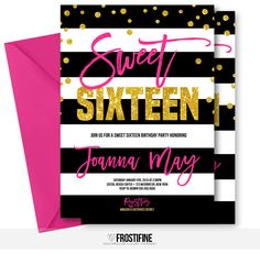 Sweet sixteen birthday party invitation for your modern party theme. Hot pink and gold glitter with glitter confetti and black and white stripes. Perfect birthday party card to invite your guests to most amazing party of the year to celebrate the sweet sixteen birthday girl.