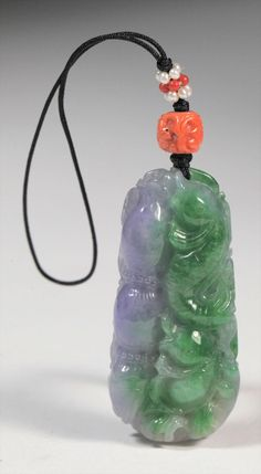 Chinese Green and Lavender Jadeite Pendant