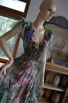 RESERVED Last Payment Wonderful Art To Wear  Forest Woodland Mori Dress  Lots of Silks  Undine QUEEN SWAMP Fairy Boho  Tattered by Paulina722 on Etsy https://www.etsy.com/au/listing/532994041/reserved-last-payment-wonderful-art-to