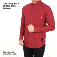 Baju kemeja pria lengan panjang pria merah maroon Diskon