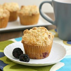 Blackberry Crumb Muffins by @Tracey Wilhelmsen (Tracey's Culinary Adventures)