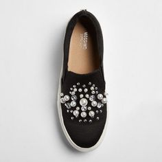 Women's Raquel Slip On Satin Sneakers with Embellished Stones and Pearls Black 6.5 - Mossimo Supply Co.
