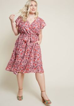 If you find yourself overcome with enjoyment from flaunting this pale pink dress from our ModCloth namesake label, don't deny it - instead, lean in! Short Sleeve Dresses, Dresses With Sleeves, Short Sleeves, Floral Midi Dress, Pink Dress, Luxury Dress, Feminine Style, Feminine Fashion, Fashion Edgy