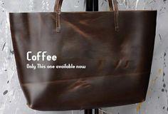 Handmade modern vintage leather big black brown tote bag shoulder bag for women