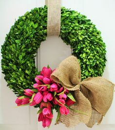 Tulip boxwood wreath - would love this for my front door!