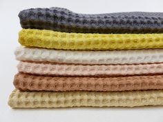 Waffle towels from French Whole. 100% organic, waste free, handdyed, locally produced. So beautiful. I had towels like these 20 years ago and I loved them, must get new ones.