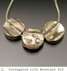 Corrugated brass and silver necklace