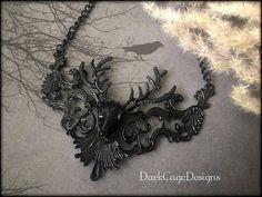 Charming Victorian/ Gothic/ Dark Mori/ Hannibal Fan/ Wendigo/ Black Filigree Stag Deer Antler Necklace by DarkCageDesigns on Etsy