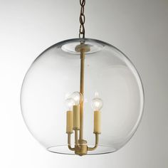 "16"" Clear Glass Sphere Chandelier"