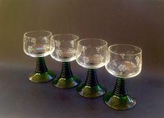 Vintage Set of 4 Green BeeHive Stem Wine Glasses -  Etched, from Germany -  Schott-Zwiesel Glasses, Ruwer Stem  - Retro - Heavy - Beautiful!