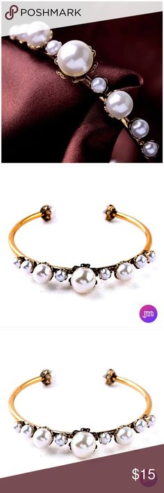 Delicate Pearl Open Bangle You're sure to get noticed with this fun piece of arm candy • Great piece to jazz up any outfit  • Faux But Fabulous ◦ New Retail Item  • Five Star Seller Rating • Ships Next Business Day Excluding Weekends & Holiday • Additional Photos or Measurements Available on Request • Reasonable Offers Considered • Thank You For Shopping My Closet • Janis Marie Jewelry Bracelets