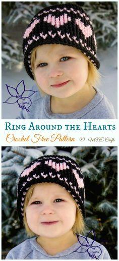 Ring Around the Hearts Graph Hat Crochet Free Pattern -  Valentine  Heart  Beanie   b6dabc743