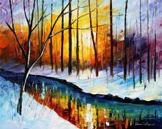 Frozen Stream by Leonid Afremov. Reminds me of the creek behind our house. :)