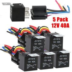 12V 30/40 amp 5 pin SPDT automotive relay with wires