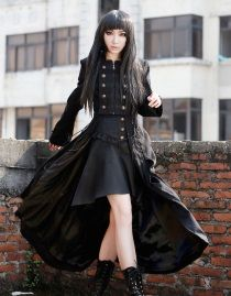 Long manteau gothique femme 'black dove'