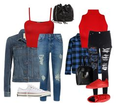 """""""Red tops"""" by sole-rack on Polyvore featuring Paige Denim, WearAll, H&M, 7 For All Mankind, Glamorous, Converse, STELLA McCARTNEY, Marc by Marc Jacobs and adidas Originals"""