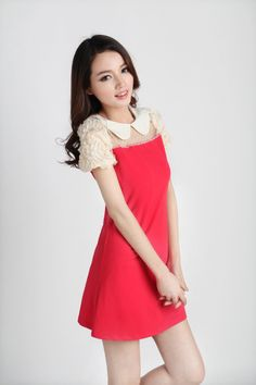 Short, Puff Sleeve, Mini Dress, White Collar, YRB0288, Chiffon, Knitted, Mesh, YRB, YRBfashion,