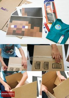 How For Making Candles In Your House - Solitary Interest Or Relatives Affair Love Steve From Minecraft? Look at This Easy Diy Minecraft Halloween Costume Idea From Minecraft Halloween Costume, Minecraft Costumes, Diy Halloween Costumes, Costume Ideas, Minecraft Mask, Steve Minecraft, Mine Minecraft, Minecraft Ideas, Holidays Halloween