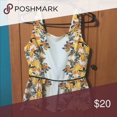 """Floral pattern Peplum top Cute creamy floral peplum top. Only worn once. Polyester. Bust size 34"""", From Fab'rik, Fab'rik Tops"""