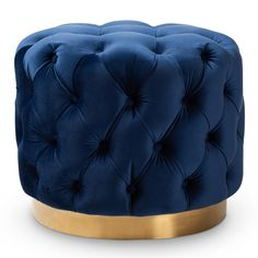 Lend an alluring English-parlor touch to your interior design with the Baxton Studio Valeria Upholstered Ottoman . This drum-shaped ottoman is upholstered. Blue And Gold Living Room, Burgundy Living Room, Living Room Red, Living Room Decor, Cozy Living, Royal Blue And Gold, Blue Gold, Dark Teal, Light Beige