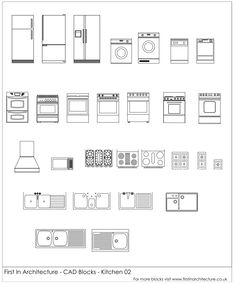 Free CAD Blocks - Kitchen Appliances 02 | First In Architecture