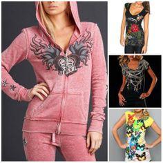 Sinful Skull T-shirt Angel Wings Rose Zip Up Hoodie Sweatshirt Top Womens S-XL