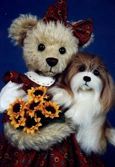 "Mary Holstad's Official Website - Teddy Bears, Dogs, Cats, Cottage Collectibles Pamela & Coco"" 1996 TOBY Award Winner, Sold Out"