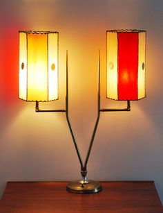 Mid Century Modern Brass Table Lamp 4 Colors Fiberglass Shades | eBay