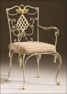 armchair - wrought iron armchair with distressed white finish Wrought Iron Chairs, Wrought Iron Decor, Decorating Your Home, Interior Decorating, Interior Ideas, White Armchair, Luxury Furniture, Garden Furniture, Take A Seat
