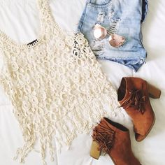 Crochet Lace Fringe Tank Adorable and unique crochet lace fringe tank. Perfect festival wear attire!! Tops Tank Tops