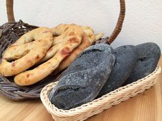 Fougasse and Charcoal bread