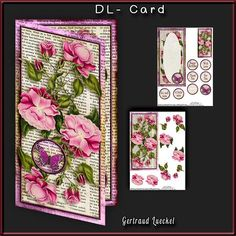 Dl Card with inlet 256 all about flowers violet on Craftsuprint - View Now!