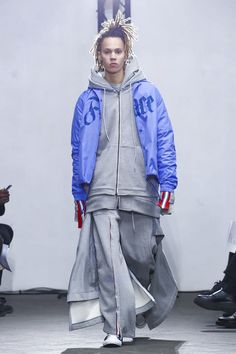 Facetasm Menswear Collection Fall Winter 2017, Paris. The Japanese brand, which was an LVMH Prize finalist, tapped more prevalently into streetwear than it had in the past. But this was a beautiful and cool collection that very much has its own personality and stamp on all things street.