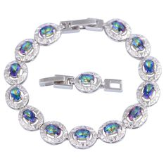 Find More Chain & Link Bracelets Information about New Hot Popular Womens Bracelets bangles Rainbow Mystic Topaz Silver fashion jewelry 18.5cm 7.68 inch B448,High Quality jewelry findings sterling silver,China jewelry extender Suppliers, Cheap jewelry wire wrapping tool from Dana Jewelry Co., Ltd. on Aliexpress.com