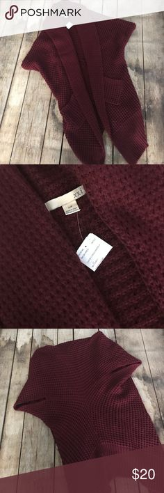 Forever 21 Open Drapey Cardigan Pretty burgundy sweater from Forever21. Size small but could fit a medium also. New with tag but the tag has been cut. This open cardigan has short dolman sleeves and looks great over a tank! Drapey style. Please no trades. Forever 21 Sweaters Cardigans