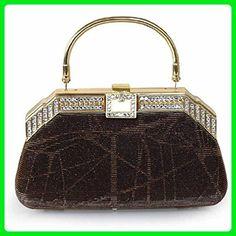 [Concierge Bag] Diamond Sequins Women Evening Clutch Vintage Cross Body Purse Light Brown Color - Crossbody bags (*Amazon Partner-Link)
