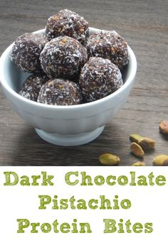 Dark Chocolate Pistachio Protein Bites. Gluten free, dairy free and packed with all sorts of goodness, but super tasty as well!