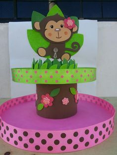 - Clara Wish Safari Birthday Party, Monkey Birthday, Animal Birthday, Birthday Party Decorations, Porta Cup Cakes, Monkey Girl, Mod Monkey, Dessert Table Backdrop, Foam Crafts