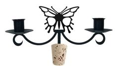Wrought Iron Butterfly Taper Candle Bottle Top Candelabra - Find at Wrought Iron Haven products such as candelabra, candle holders, wine stoppers, candelabrum, romantic candelabra.