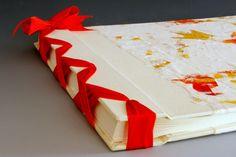 Handmade Photo Album  Orange Oak Leaf  Jumbo by BlueRoofDesigns