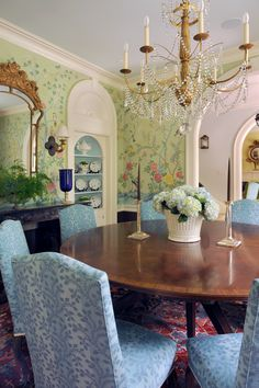 Kim Comstock Painted The Large Scale Chinoiserie Scene Enveloping Walls Of Dining Room In This Lexington KY Home Designed My Matt Carter And