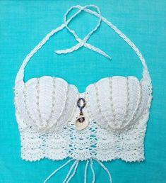 Diy Crafts - Cropped Crochet Mermaid Bojo Shell: Own Creation Model Crochet Bra, Crochet Bikini Pattern, Crochet Mermaid, Crochet Bikini Top, Crochet Blouse, Crochet Purses, Cotton Crochet, Crochet Clothes, Crochet Stitches